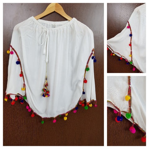 Colourful Pom - Poms White Poncho Top