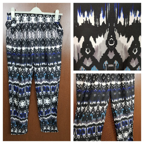 Black White Blue Printed - Casual Lower