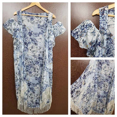 Light Tasseled - Blue & White Flowers Cold Shoulder Shrug