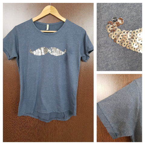 Mustache - Gryish Blue Tee with Silver Sequins.