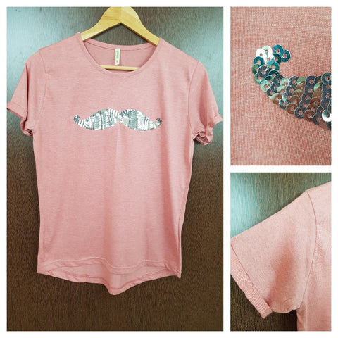 Mustache - Plain Pastel Pink Tee with Silver Sequins.