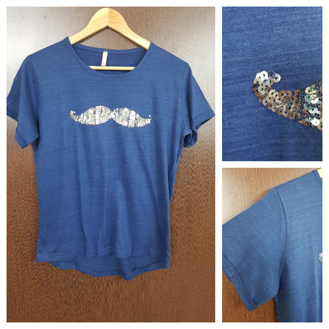 Mustache - Plain Dark Blue Tee with Silver Sequins.