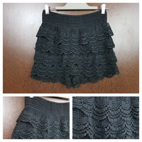 Flared - Lace And Net Skirt Style Shorts