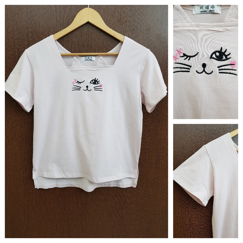 Cute Kitty - Stretchable Light Pink Tee