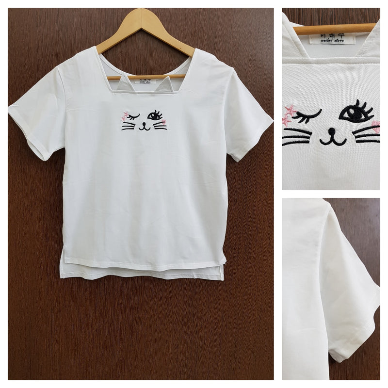 Cute Kitty - Stretchable White Tee