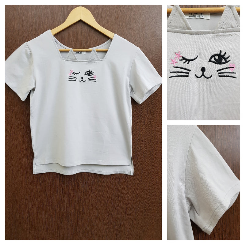 Cute Kitty - Stretchable Light Grey Tee