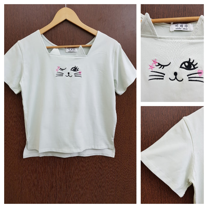Cute Kitty - Stretchable Light Green Tee