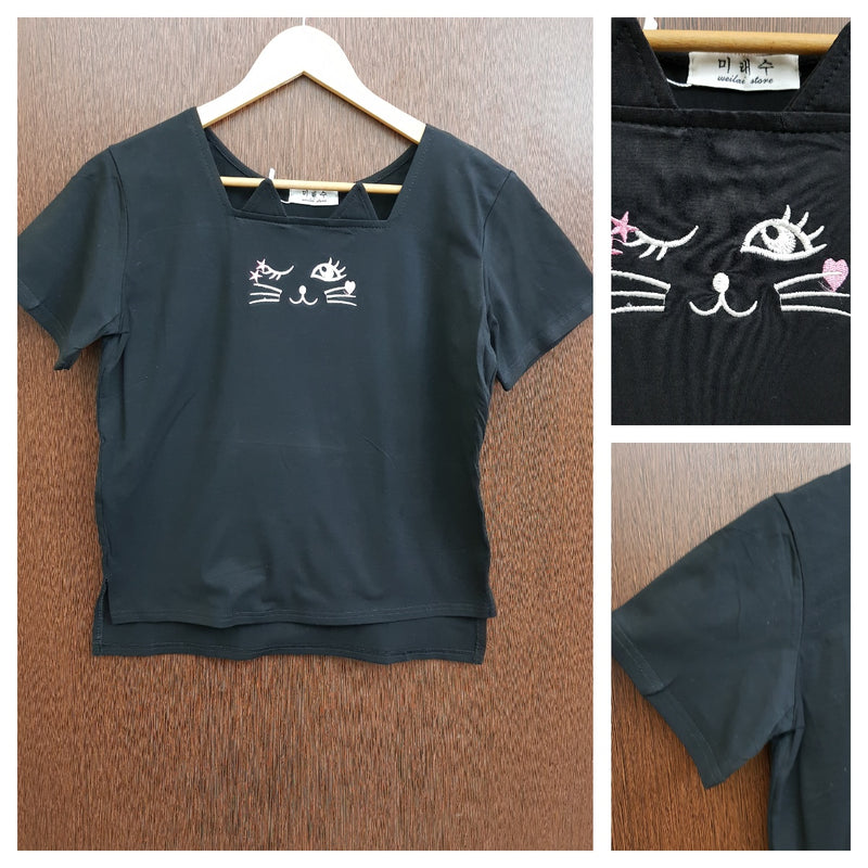 Cute Kitty - Stretchable Light Black Tee