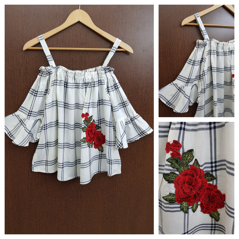 2 Flowers - Black White Check Cold Shoulder Top