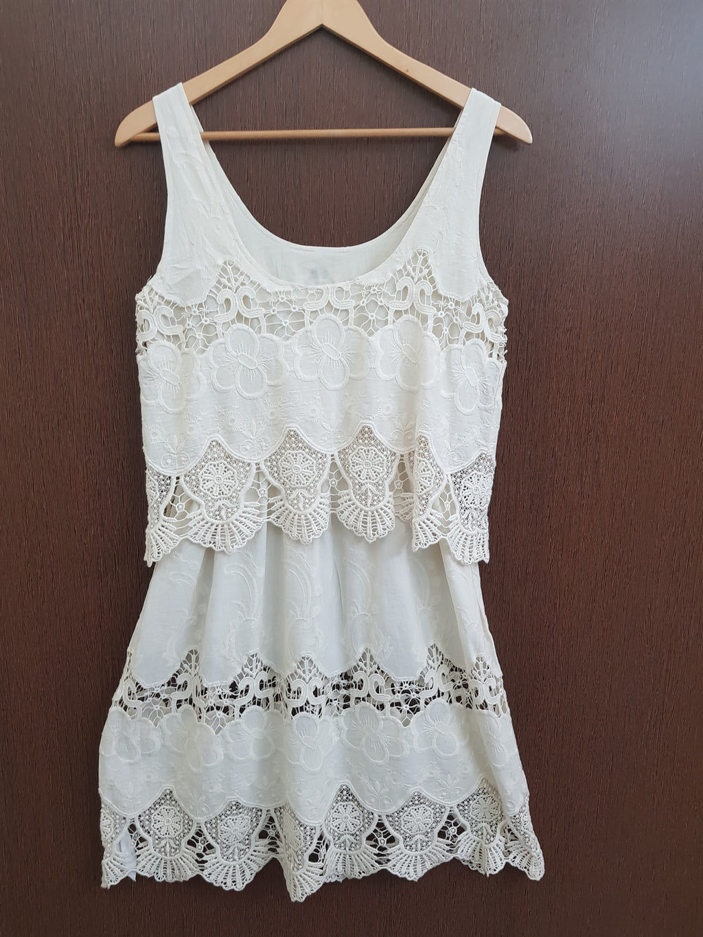 Pretty Floral Cut Work Cream Dress