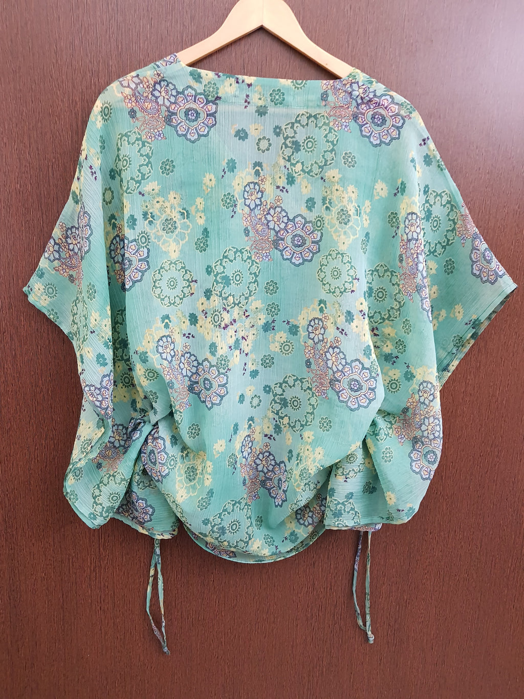 Green Yellow Floral Side String Poncho Top