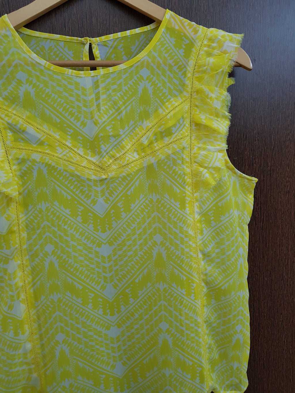 Pretty Yellow White Printed Cut Work & Frill Top