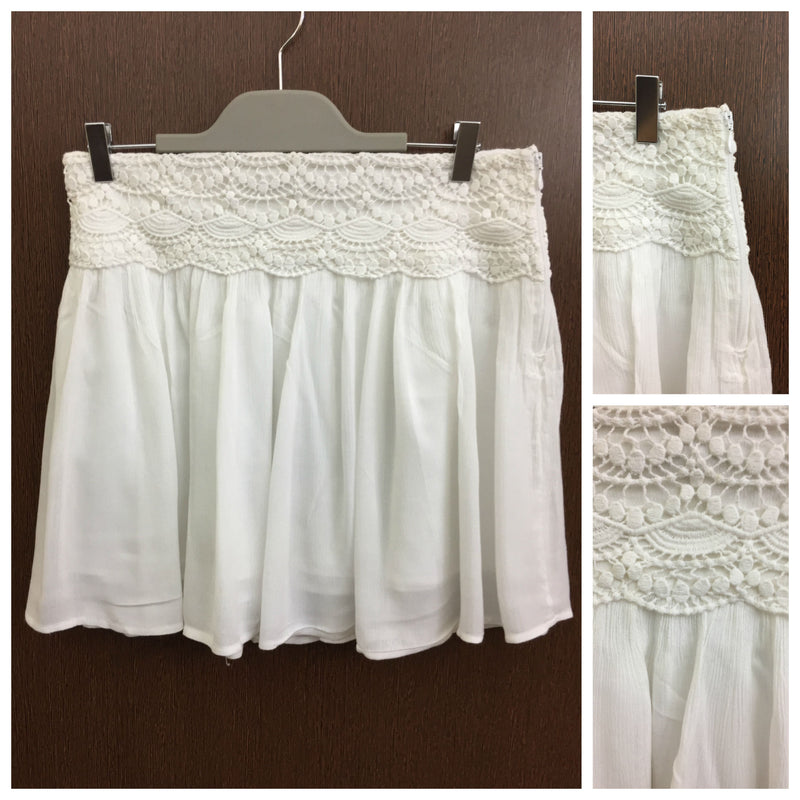 Pretty Embroidery On Waist - White Skirt