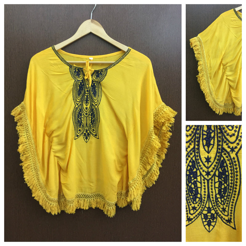 Pretty Blue Embroidery - Mustard Yellow Poncho Tasseled Top
