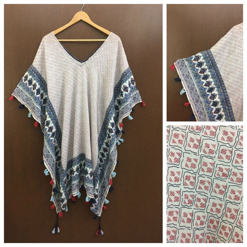 Colorful Tasseled - Blue Panel Printed Poncho Shrug