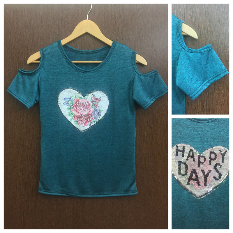 Happy Days - Green Cold Shoulder Tee