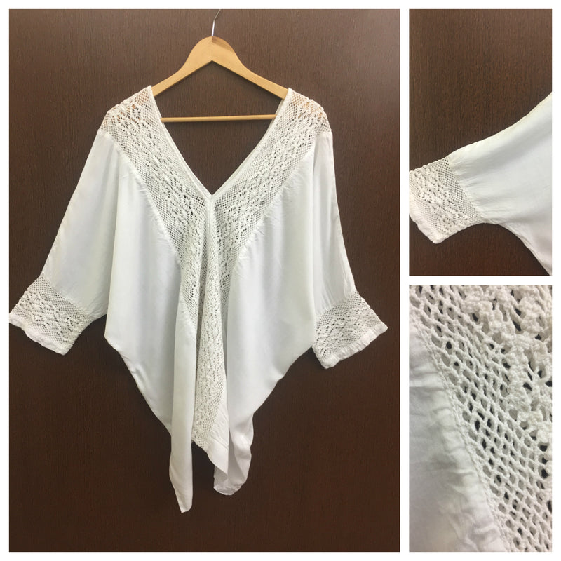 V Neck Poncho White Top