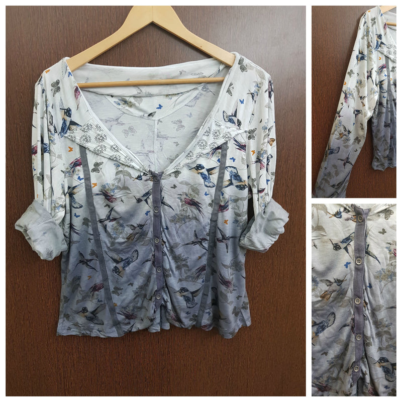 2 Colours - Birds & Butterfly Printed Top