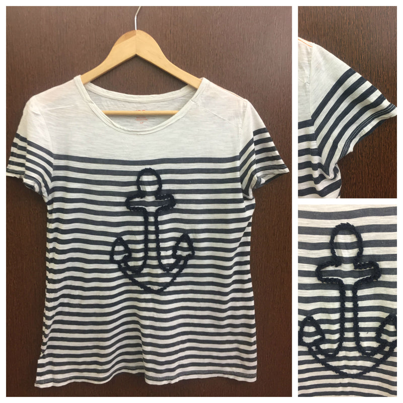Anchor - Black & White Horizontal Stripes Tee