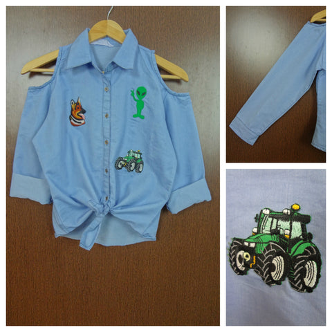 Patched - Cold Shoulder Light Blue Denim Shirt with Front Knot - Alien Tractor