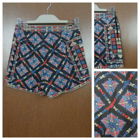 Elegent Mirror Work Blue Red Printed On Black Shorts