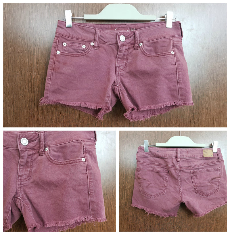 Rugged - Washed Out Denim Shorts - Maroon