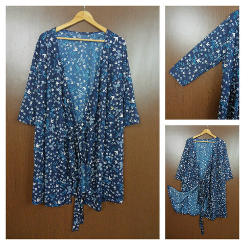 Birds & Flowers Prints On Navy Blue Shrug With Front Knot