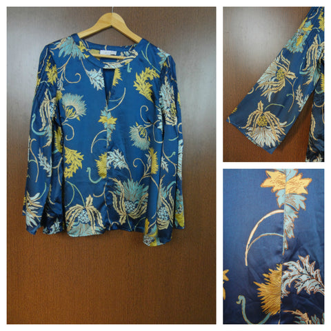 Big Leaves & Flowers Printed Blue Top