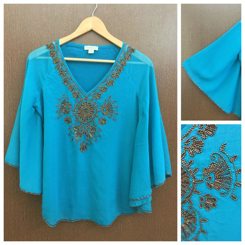 Elegent Brown Sequins Work On Teal Poncho Top