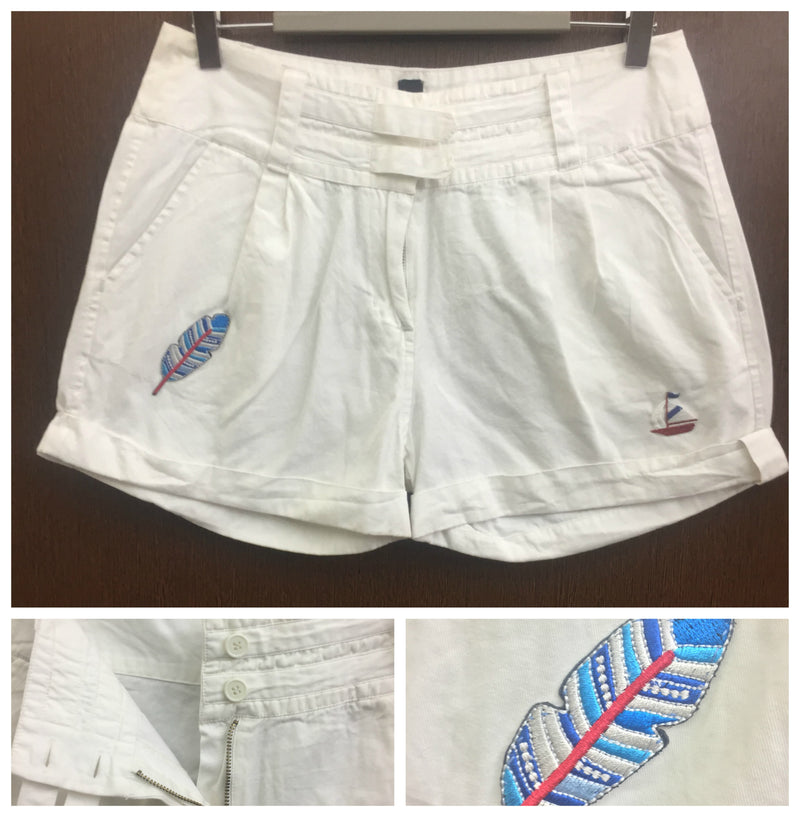 Patched - White Shorts - Feather
