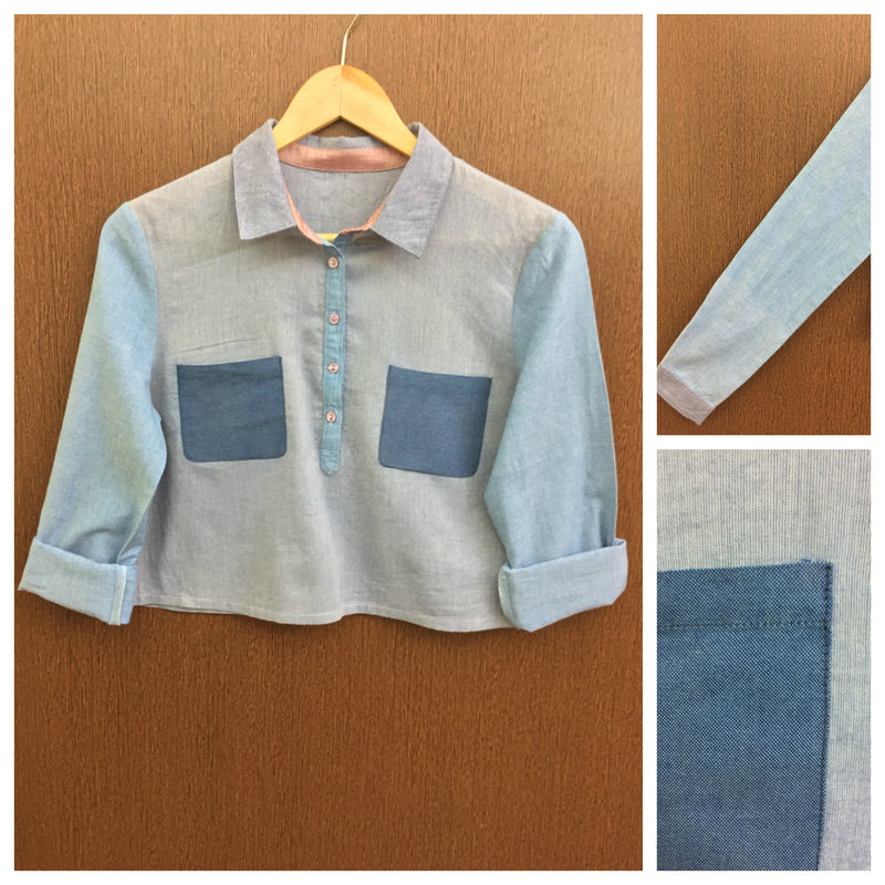 2 Pocket Blue Long Sleeves Top