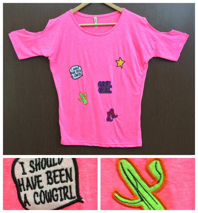 Patched - Cold Shoulder Neon Pink Tee - Cool Girl