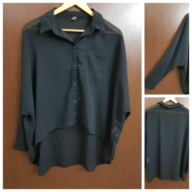 Anti - Fit Translucent Black High Low Shirt