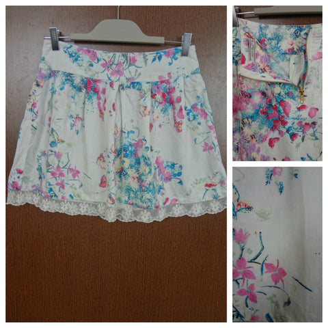 Pink Flowers - White Laced On Bottom - Skirt