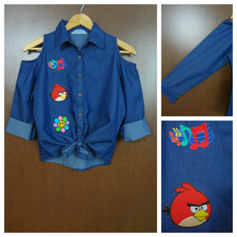 Patched - Cold Shoulder Dark Blue Shirt With Front Knot - Musical Angry Bird