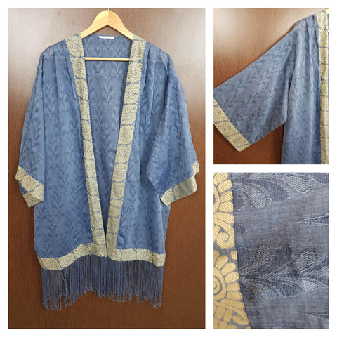 Tasseled - Big Sleeves Blue Shrug