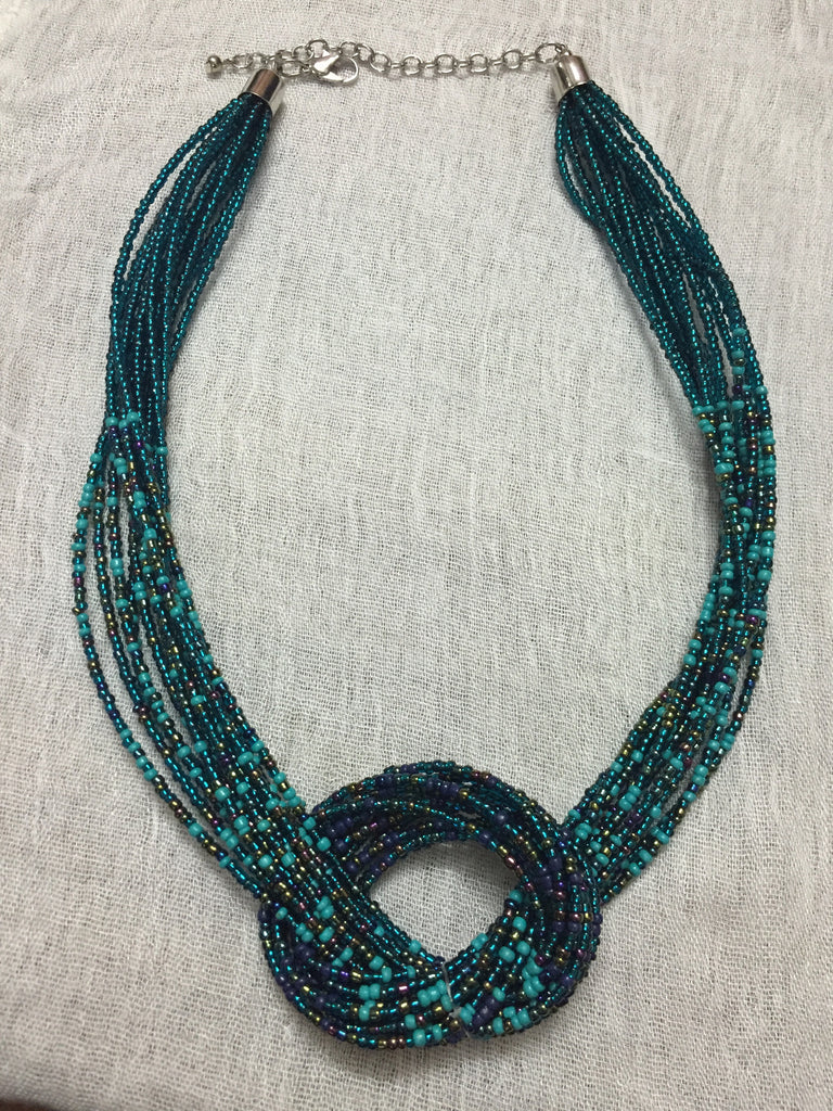 The Big Loop - Vibrant blue beaded neckpiece - #FTFY - For The Fun Years