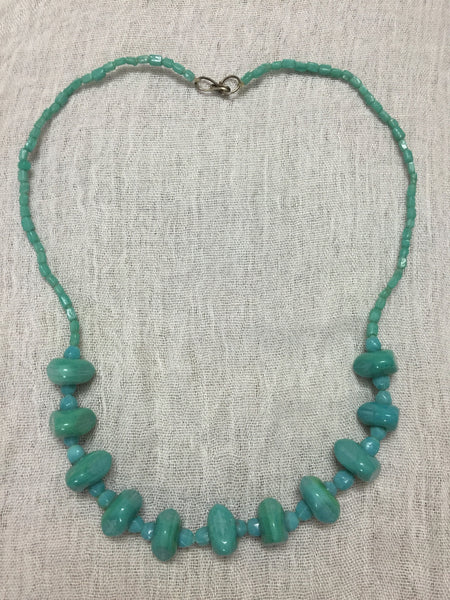 The Turquoise Blue different sized beads Neckpiece