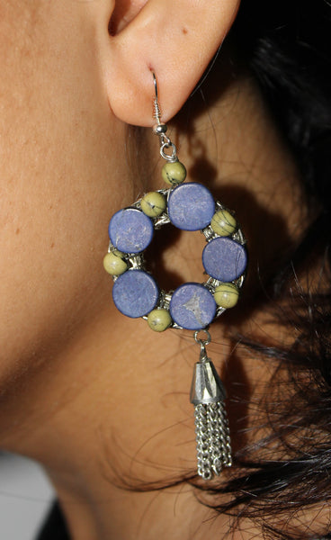 Circular Loop, Back Mesh Dangling Earrings - #FTFY - For The Fun Years