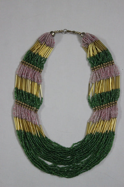 Of beads & Pretty pipes - Green, Pink & Gold
