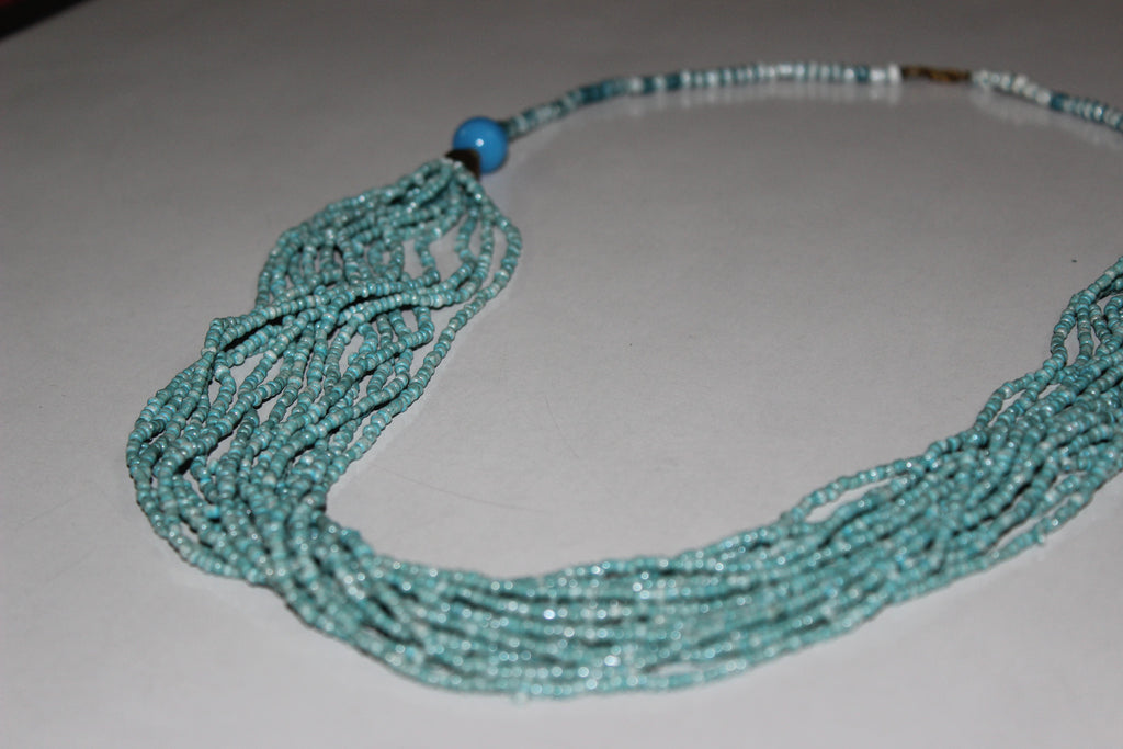 The sky blue multi-layered beads neck piece