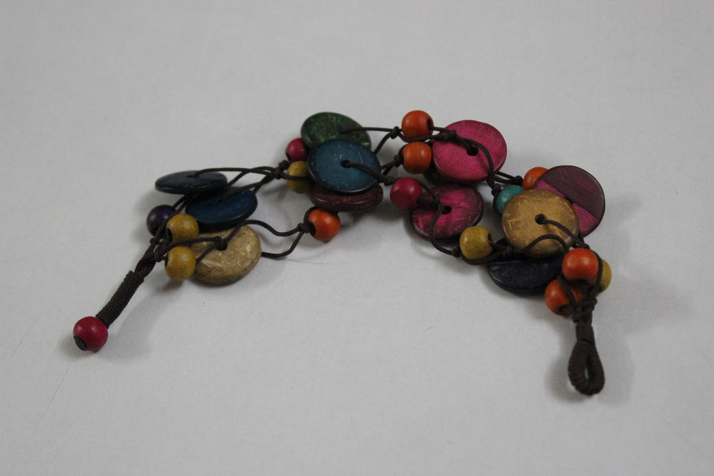 Wood series - Wooden Buttons & Spheres bracelet