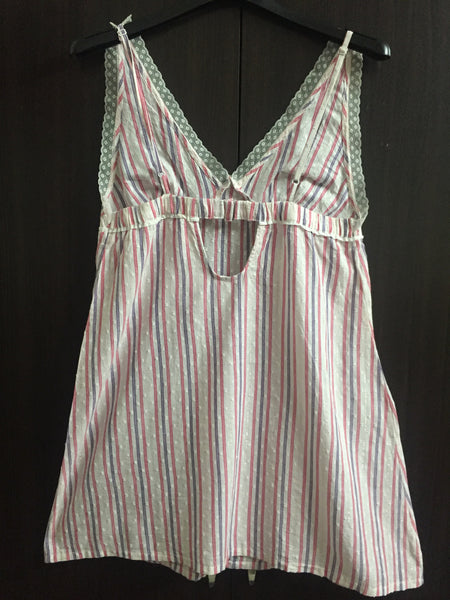 Pink & Purple Striped Cotton Night Dress