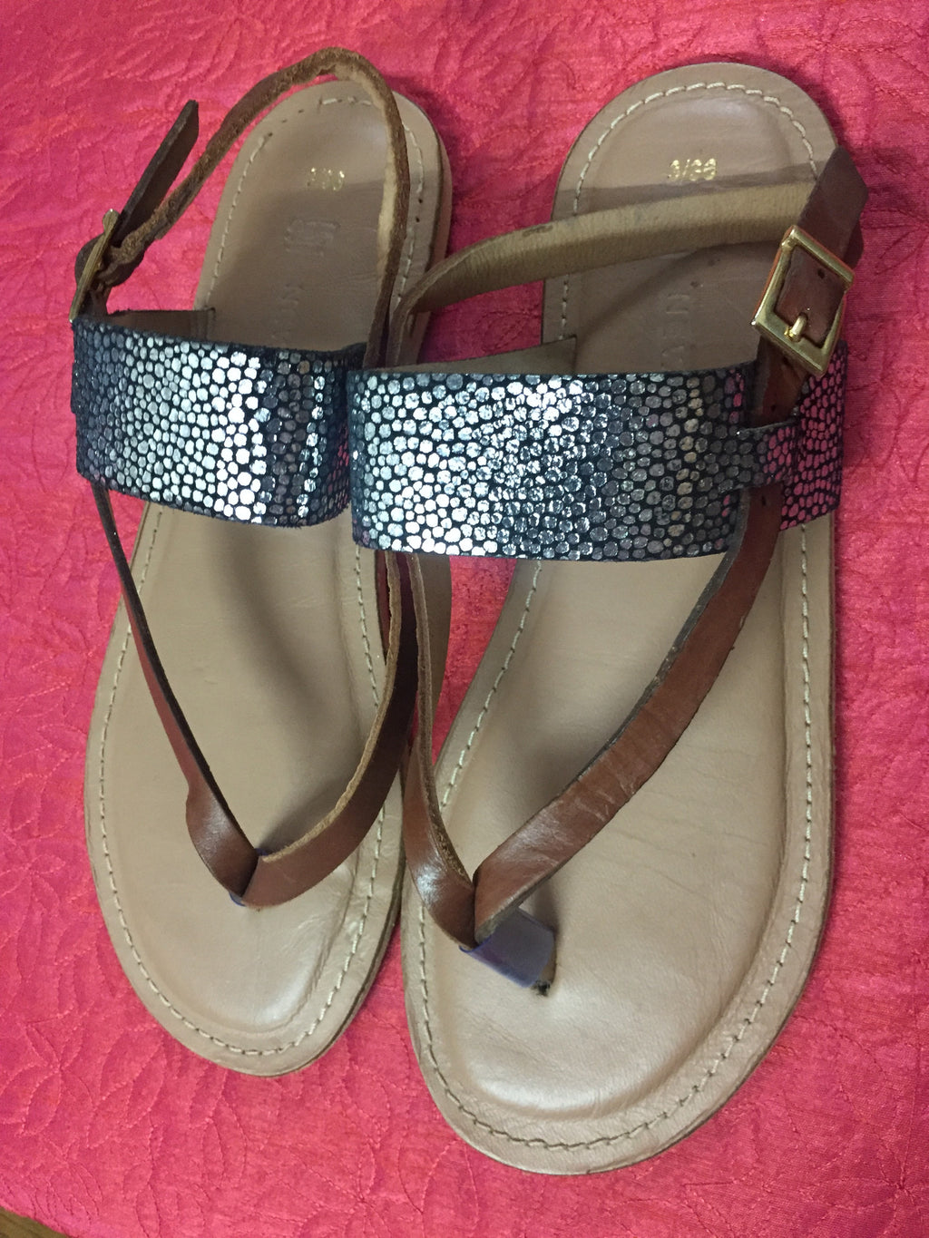Metallic Silver & Brown Flats