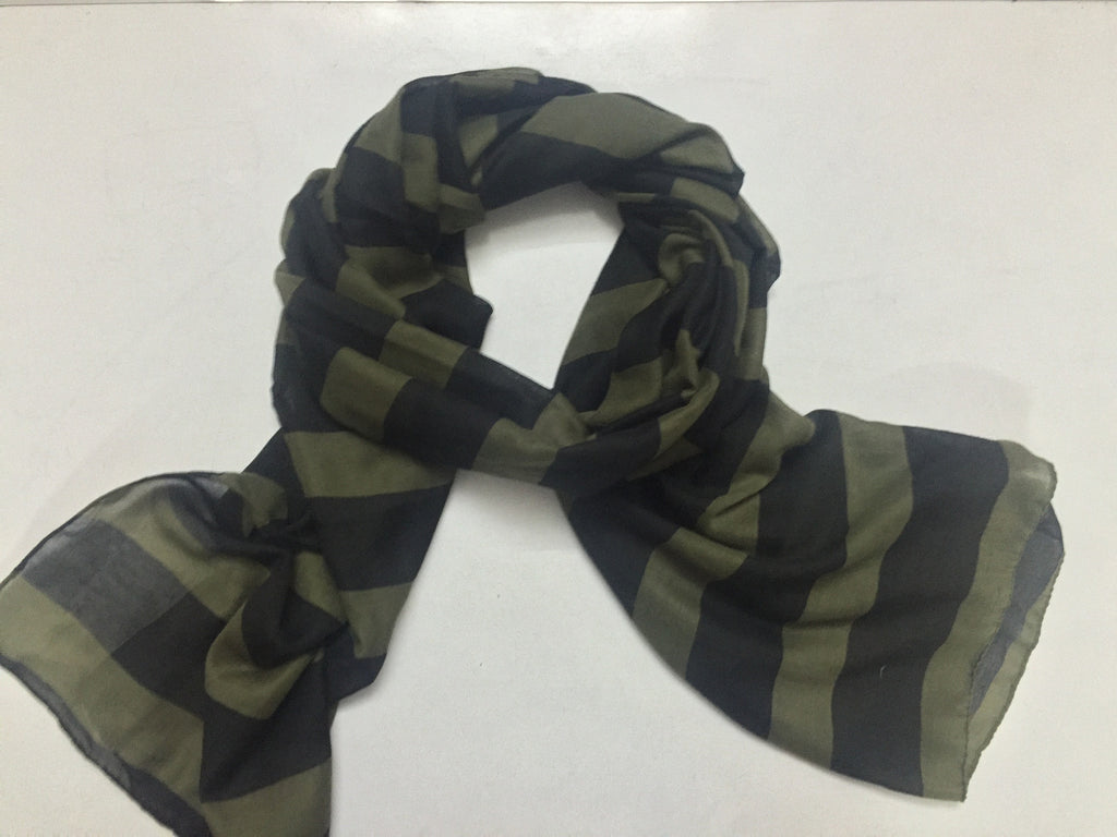Rectangular Black and Mehandi Green Scarf