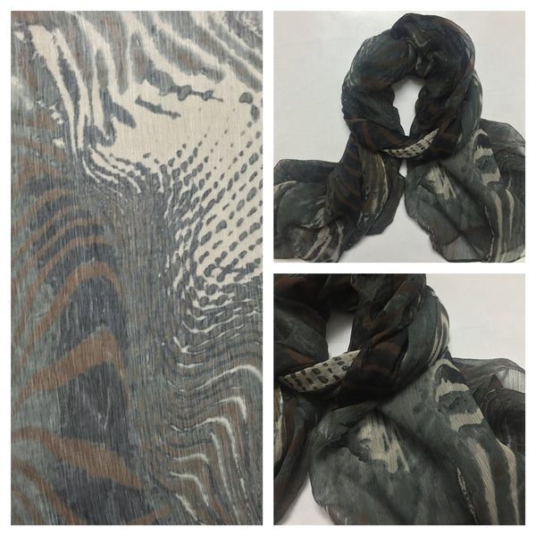 Rectangular Green Brown Jungle Print Scarf.