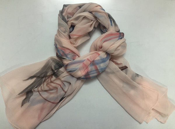 Rectangular Peach Delight Printed Scarf.
