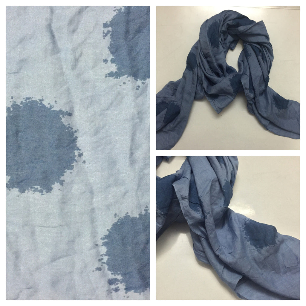 Square Dark Blue Spotted Light Blue Scarf.