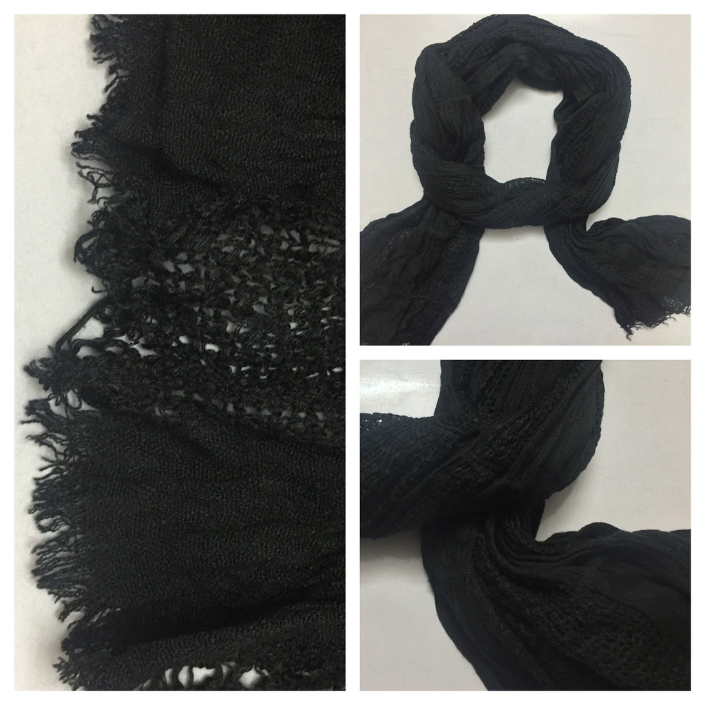 Rectangular Little Warm Black Stretchable Scarf.