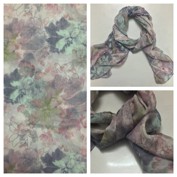 Rectangular Soft Multicolor Floral Scarf.